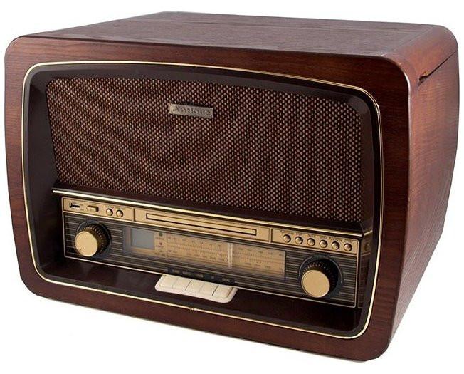 Музыкальный центр-ретро. Функции: Винил, AM / FM, CD, аудио