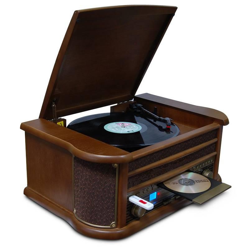 Проигрыватель грампластинок. Функции:винил, CD, MP3, USB, AM/FM